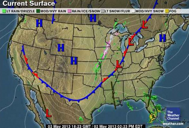 A real mix: Much of the country is experience high pressure which usually brings good weather, but the low front is what's bringing the extreme wintry weather across the heartland