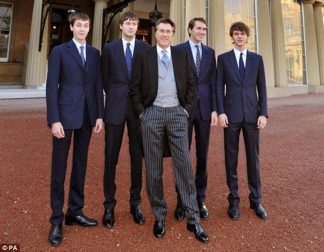 Bryan Ferry, with his four son's (left to right) Merlin Ferry, Isaac Ferry, Otis Ferry and Tara Ferry