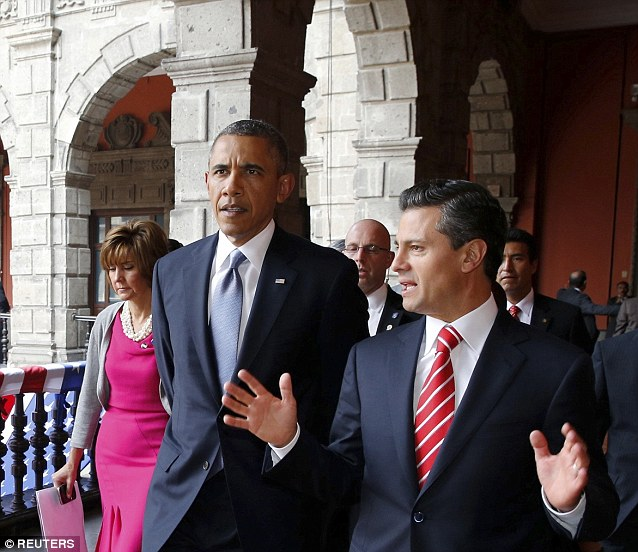 Bond building: The president was visiting Mexico to discuss drug policy and immigration with Mexican President Enrique Pena Nieto