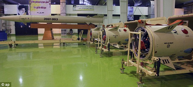 Missile: An upgraded Fateh-110 missile in a file picture released by the Iranian Defence Ministry