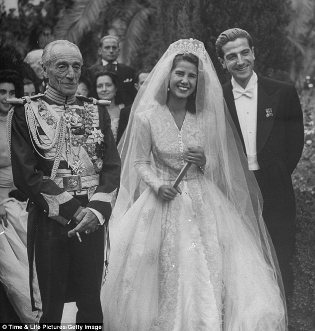 Wedding number one: The Duchess of Alba is pictured with her new husband on their wedding day in October 1947