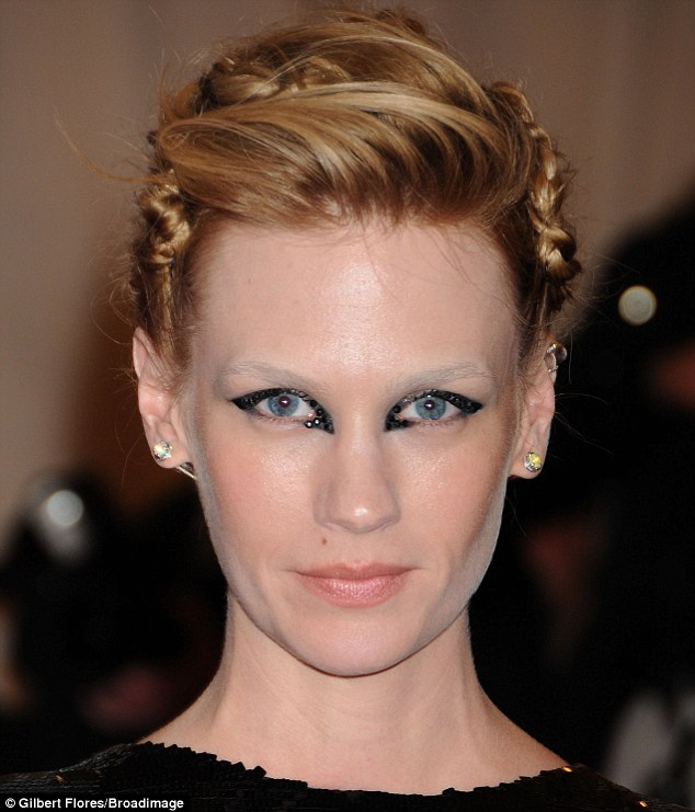 Still think you are in X-Men? January Jones was getting into the spirit of things with her make-up job