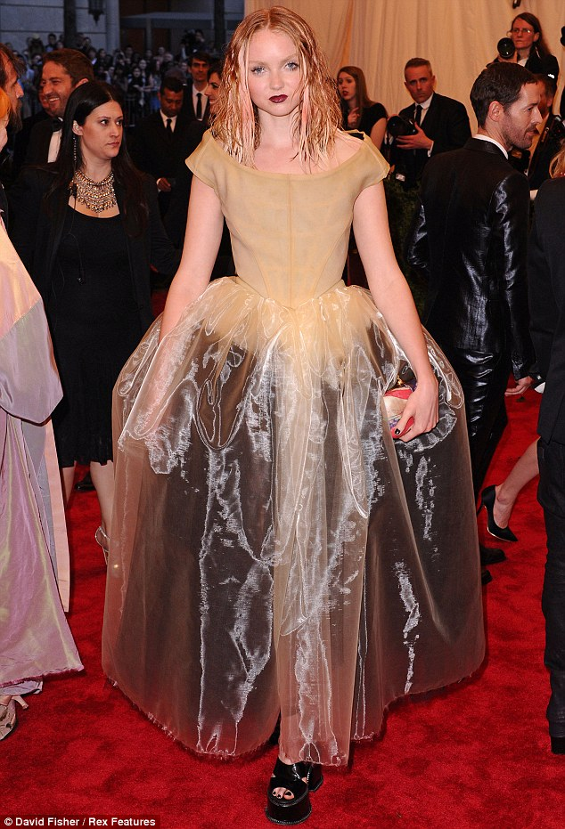 Punk princess: Lily Cole wears a vanilla ballgown to the Costume Institute Gala at the Metropolitan Museum of Art in New York on Monday