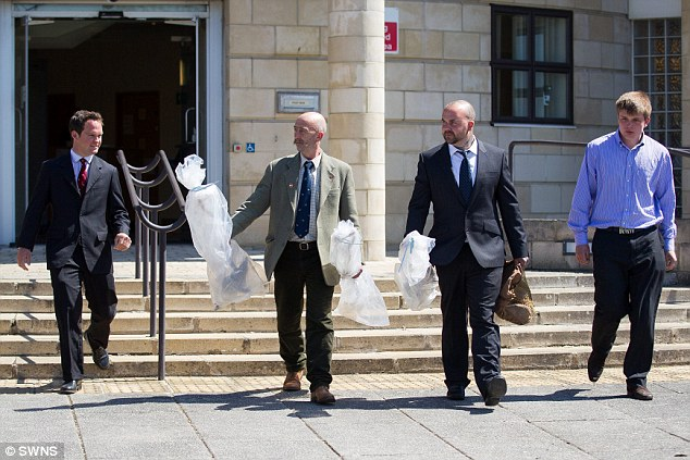 Hunt: (L-R) Stuart Radbourne, Paul Tylee-Hinder, Ben Pethers and Joshua Charlesworth are seen leaving the court, some carrying evidence bags