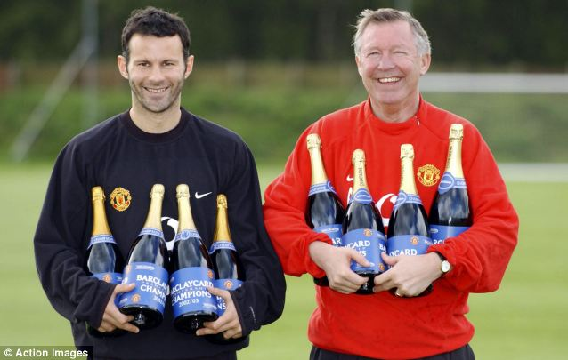 Vintage: Sir Alex and Manchester United star Ryan Giggs celebrate winning the Premier League back in 2003