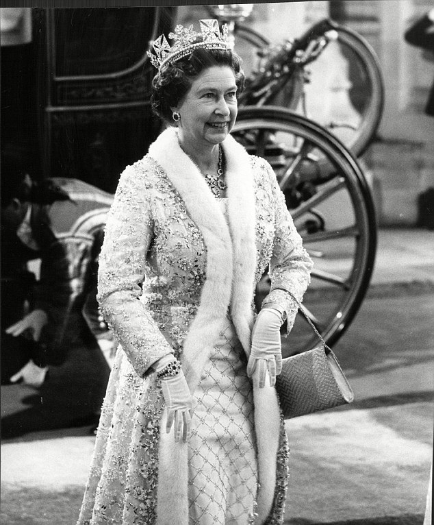 Queen Elizabeth arrives at the House of Lords in 1985