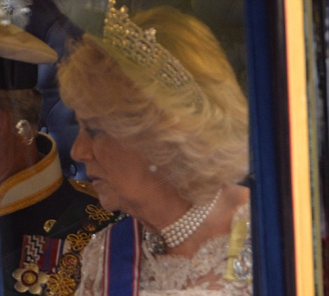 Prince Charles and Camilla, Duchess of Cornwall ride in a carriage to the Palace of Westminster for the State Opening of Parliament