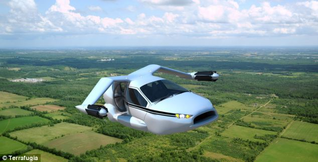 An artist's mock-up of what the TF-X model will look like during flight. Terrafugia is working on the TF-X, a flying car that can take-off from standing still, and is hoping it will be available within 12 years