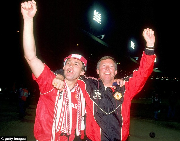 Surprise: Ferguson in 1990 with Bryan Robson, who hailed him as the greatest manager ever