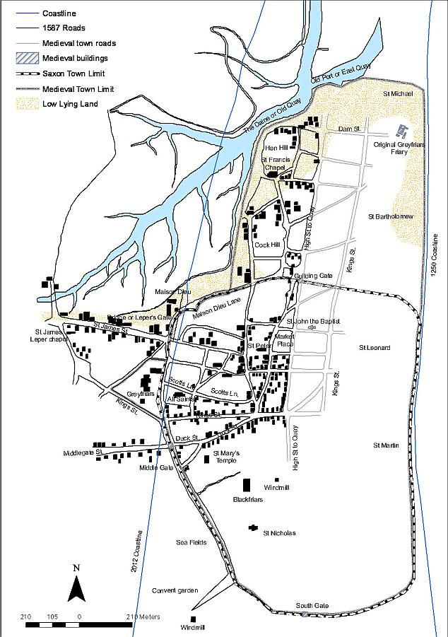 The underwater town: Dunwich map reconstruction showing coastline in 1250 and 2012