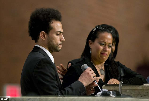 Family support: Smith took to the pulpit with his sister, Jennifer Smith, who broke down in tears