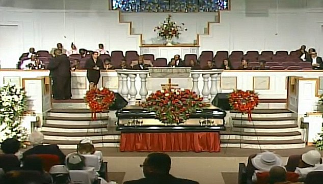 Overwhelming turn-out: Mourners including Jermaine Dupri and Da Brat celebrated Kelly's life at the Jackson Baptist Memorial Church