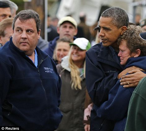 Comfort from political leaders: The Prince will be meeting with Governor Chris Christie, seen here with President Obama just days after the storm hit