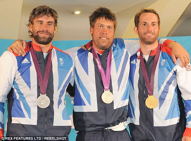 Sailing to sucess: Percy and Simpson with Gold medal winner Ben Ainslie