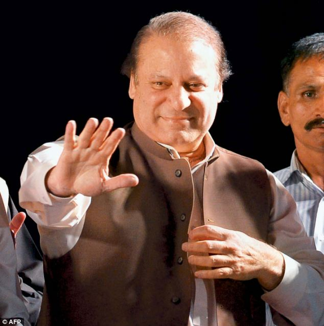Nawaz Sharif gave a jubilant speech declaring himself to be in the lead after the bloody election day