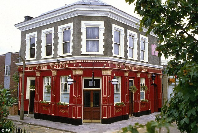 Queen Vic: A spokesman for EastEnders said its supporting actors are booked through agencies that have undergone 'an approval process with the BBC'. The show's landmark, The Queen Victoria pub, is pictured