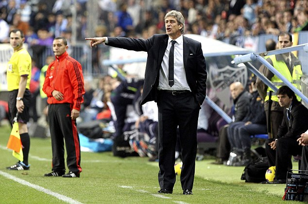 New man: Manuel Pellegrini is set to leave Malaga and take over Mancini's job at the Etihad