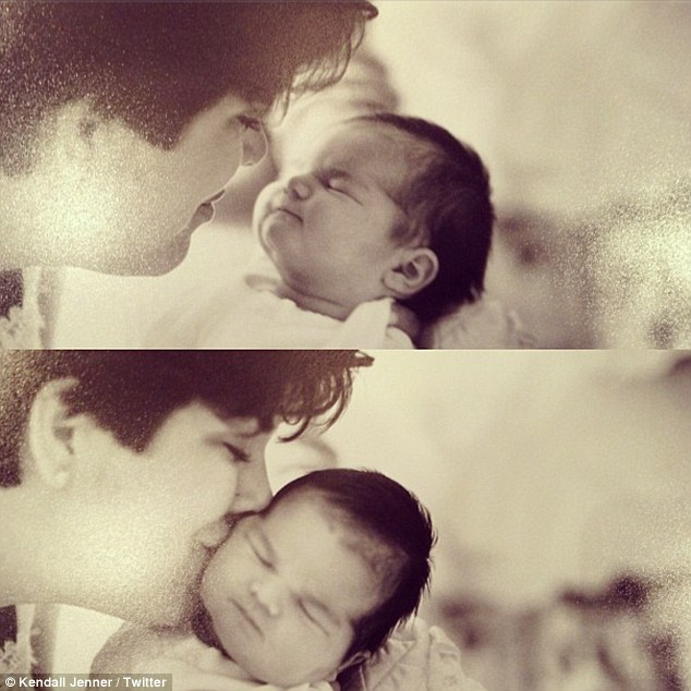Classic: Kendall uploaded a composite of two photos of herself as a baby with mother Kris