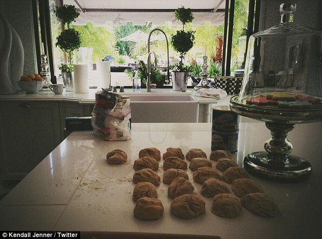 Sweet treat: Kendall Jenner celebrated mother Kris by baking cookies, writing, 'Happy Mothers Day momma!'