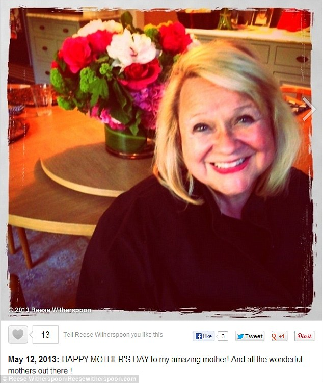Touching tribute: Mother of three Reese Witherspoon shared her excitement by posting a photo of her own mother, Betty