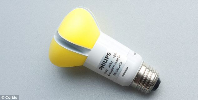 A Spanish study has shown that the light emitted by LED bulbs can damage the cells in the retina. Some experts are now calling for a filter to be fitted in the bulbs (file picture)