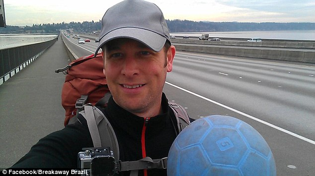 Tragic end: Richard Swanson, 42, from Seattle, was trying to dribble a soccer ball 10,000 miles to Brazil in time for the 2014 World Cup when he was struck and killed by a car in Oregon on Tuesday