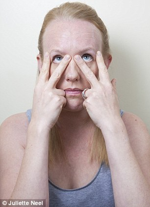 The V: Make a 'V' sign by positioning fingers at each end of the eyebrows and create a powerful squint. Relax and repeat six more times. Finish by squeezing eyes shut for ten seconds. Relax