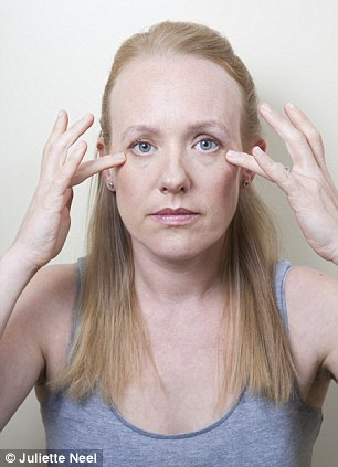 Circle the eyes: Place index fingers at the edge of eyebrows. Tap gently round eyes following the arc of the eyebrows and continue under the eyes. Repeat the opposite way. Stroke outwards under the eyes from the nose four times