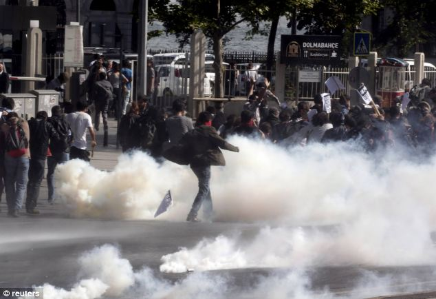 Prime Minister Erdogan has seen increasing protests in Turkey from Muslims angry about his positions against the autocratic regime in neighboring Syria. On Thursday demonstrators clashed with riot police in Istanbul
