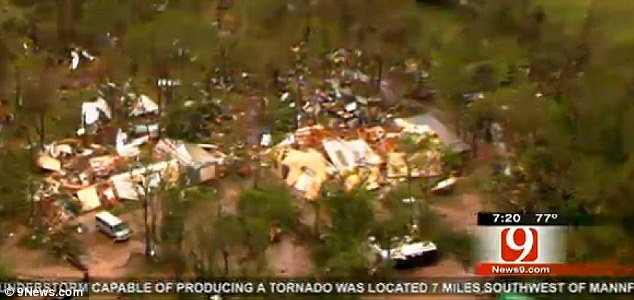 Devastation: Decimated homes in the path of a massive twister are seen in Shawnee, Oklahoma
