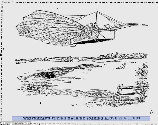 A report in the Bridgeport Herald on 18 August 1901 details eyewitness accounts of Whitehead's flight, which took place in Connecticut four days earlier