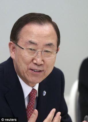 U.N. Secretary-General Ban Ki-moon gestures while talking to Russia's President Vladimir Putin (not pictured) during their meeting at Bocharov Ruchei state residence