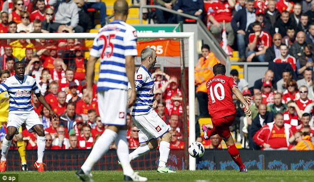 10 out of 10: Coutinho scores against QPR
