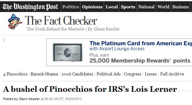 FOUR PINOCCHIOS: 'Between 2010 and 2012, we started seeing a very big uptick in the number of 501(c)(4) applications we were receiving,' Lerner claimed, but the Washington Post determined that wasn't true.