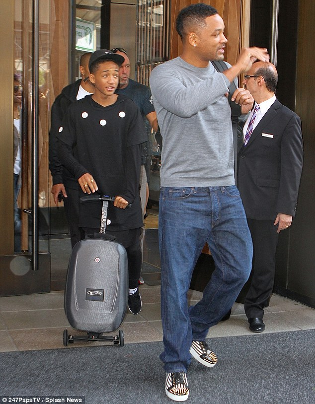 Promotional tour: Will and Jaden were seen leaving their New York City hotel on Tuesday