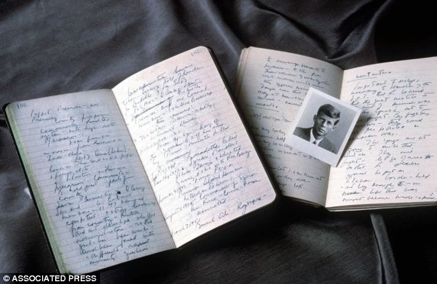 Revealing: Presidential diaries and photographs are among more than 500 items from a collection John F. Kennedy documents and artifacts