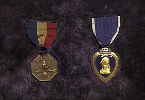 Framed together are the Navy Marine Corps Medal and the Purple Hearttial