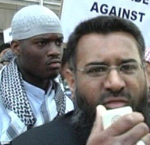 Accused: Choudary (right) said that Adebolajo, 28, was with him in this picture at the demonstration in 2007