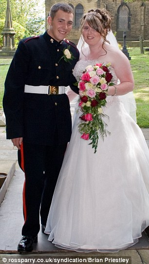 Murdered: Drummer Lee Rigby with his wife Rebecca at their wedding in 2007. Their son Jack is just two