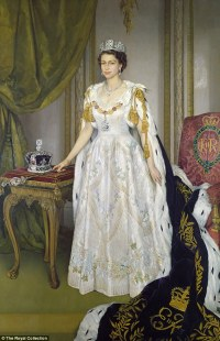 Beautiful paintings of the Queen in her coronation gown to ...