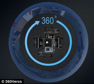 By adding multiple cameras to a mount it can record in 360-degree angle on the horizontal