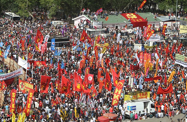 Day three: Protesters gather for the third day of nationwide anti-government protest at the Taskim square in Istanbul