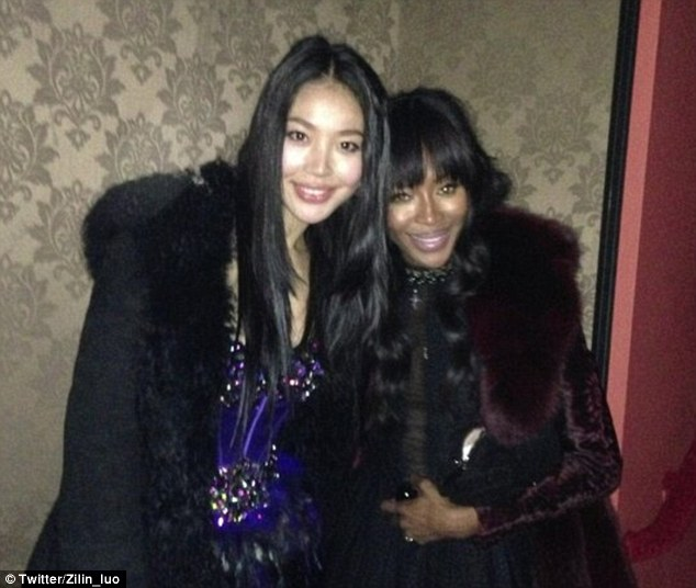 Mentors: Naomi Campbell poses with Luo Zilin, whom she picked for her reality show The Face. Luo has now been seen kissing Naomi's ex, Vladimir Doronin.