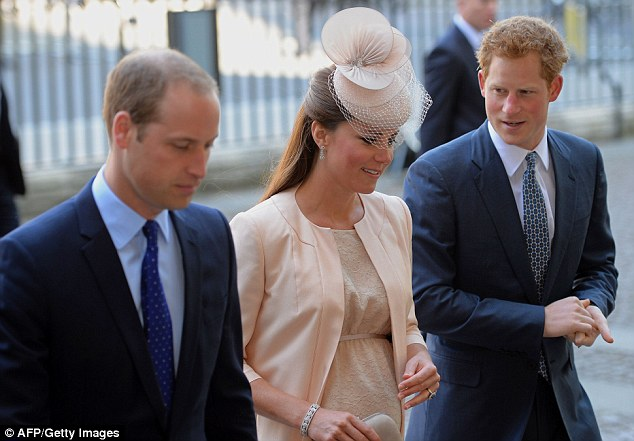 Sticking together: Prince William, (L) his wife Catherine, Duchess of Cambridge, (C) and Prince Harry (R) arrived at Westminster Abbey together