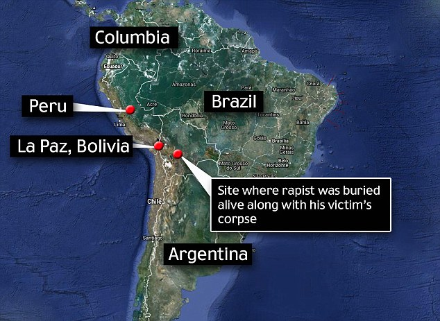 Indigenous justice: A suspected rapist and murderer has been buried alive in the grave of his alleged victim by enraged villagers, according to reports from Bolivia