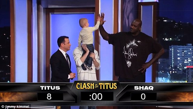 Well played: Another hi-five between the duo but surely Shaq must be feeling the pressure by now?