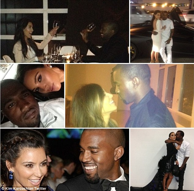 Overflowing with love: Kim posted a collage of couple pics wishing Kanye a happy birthday, calling him 'the love of my life, my soul!!!! I love you beyond words!'