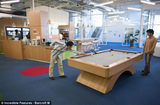 Staff members at Google can play pool anytime they need a break