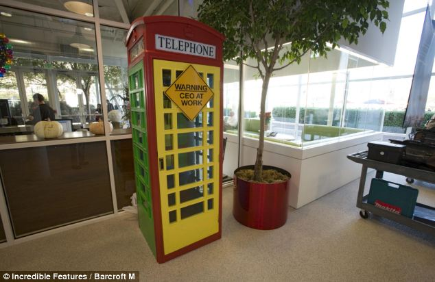 In the main foyer of building 43 on the Google campus in California is a colorful old-fashion British phone booth