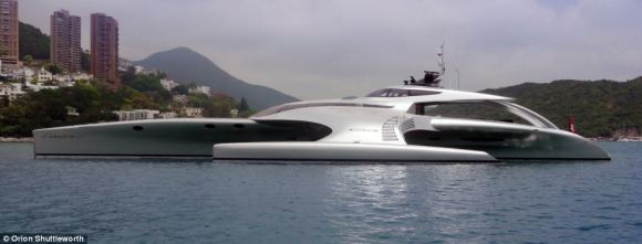 The giant Adastra is a three-hulled made-to-order yacht that cost $15million to make